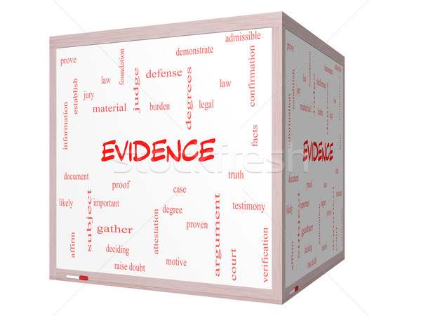 Evidence Word Cloud Concept on a 3D cube Whiteboard Stock photo © mybaitshop