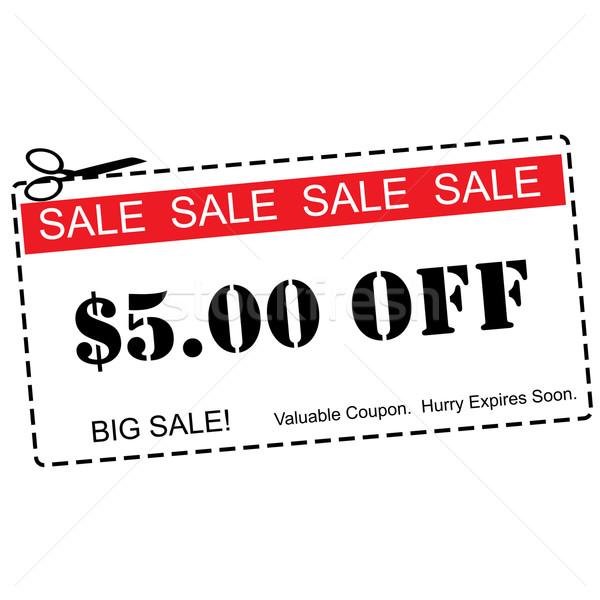Five Dollars Off Sale Coupon Stock photo © mybaitshop