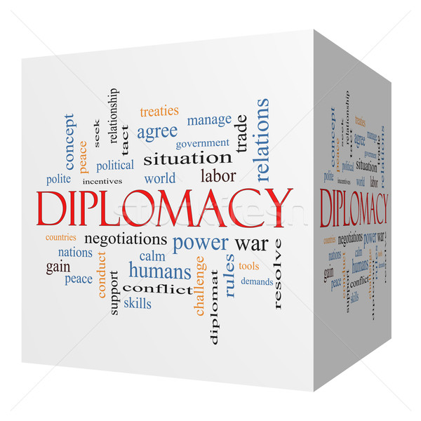 Diplomacy 3D cube Word Cloud Concept Stock photo © mybaitshop