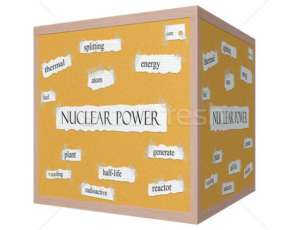 Nuclear Power 3D cube Corkboard Word Concept Stock photo © mybaitshop