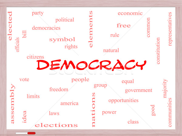 Democracy Word Cloud Concept on a Whiteboard Stock photo © mybaitshop