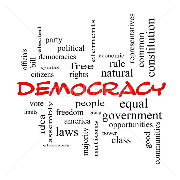 Democracy Word Cloud Concept in red caps Stock photo © mybaitshop
