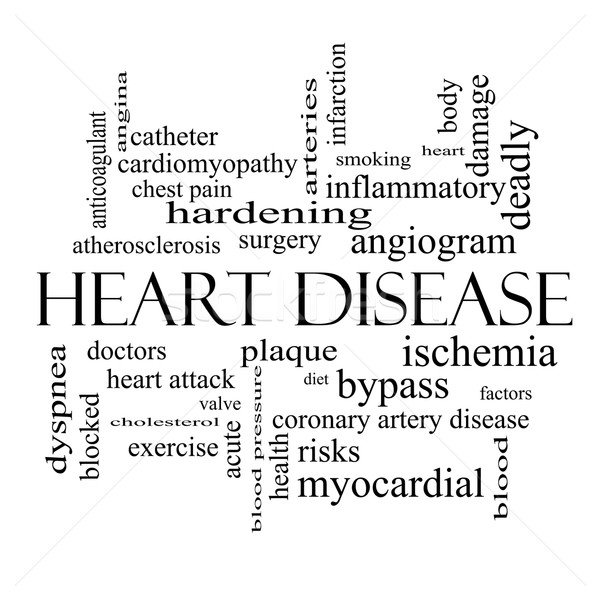 Heart Disease Word Cloud Concept in black and white Stock photo © mybaitshop