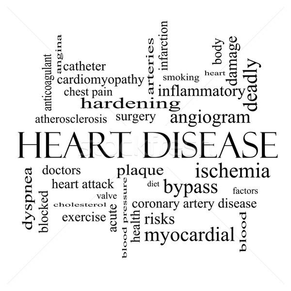 Malattie cardiache word cloud bianco nero corpo Foto d'archivio © mybaitshop