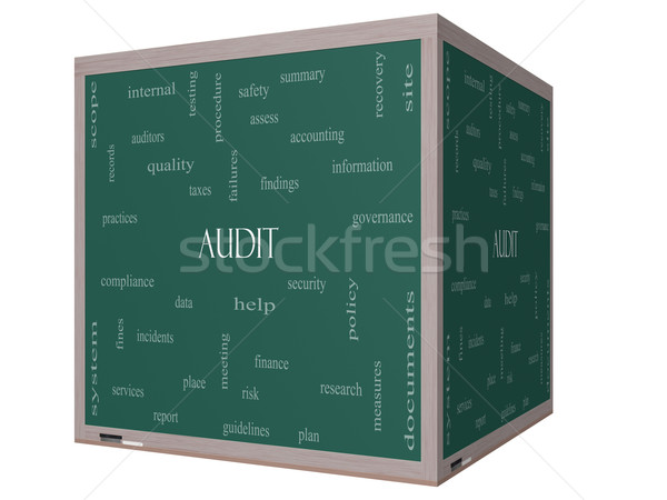 Audit Word Cloud Concept on a 3D cube Blackboard Stock photo © mybaitshop