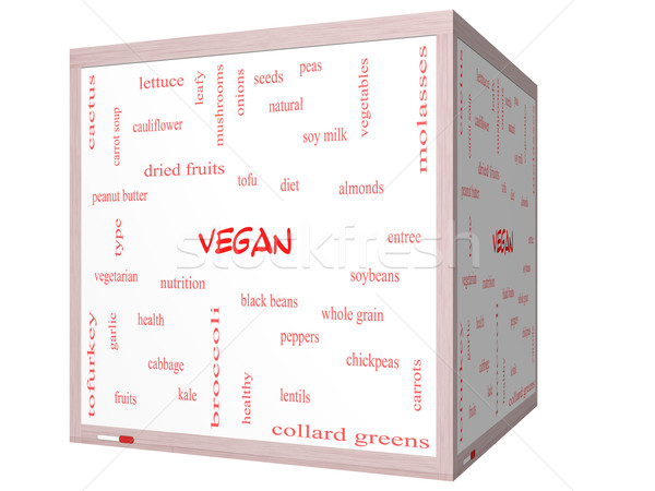 Vegan nuvem da palavra 3D cubo Foto stock © mybaitshop