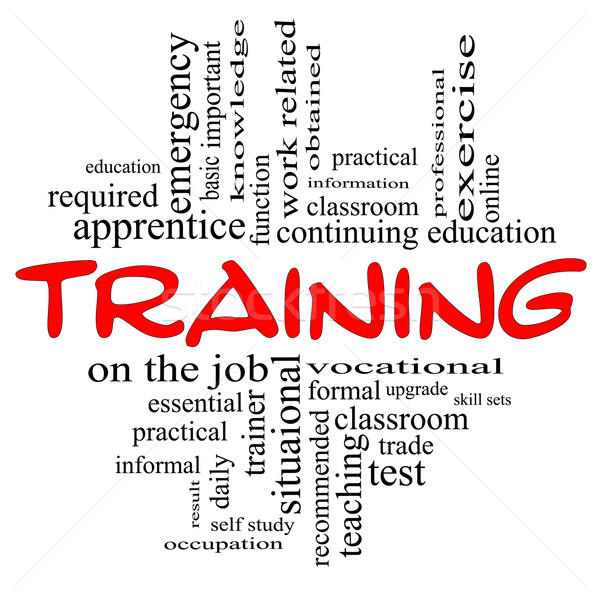 Training Word Cloud Concept in red & black Stock photo © mybaitshop