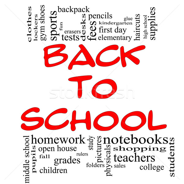Back to School Word Cloud Concept in red & black Stock photo © mybaitshop