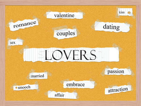 Stock photo: Lovers Corkboard Word Concept