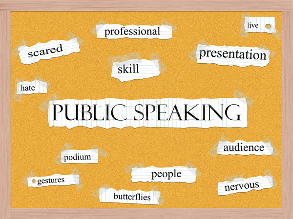 Public Speaking Corkboard Word Concept Stock photo © mybaitshop