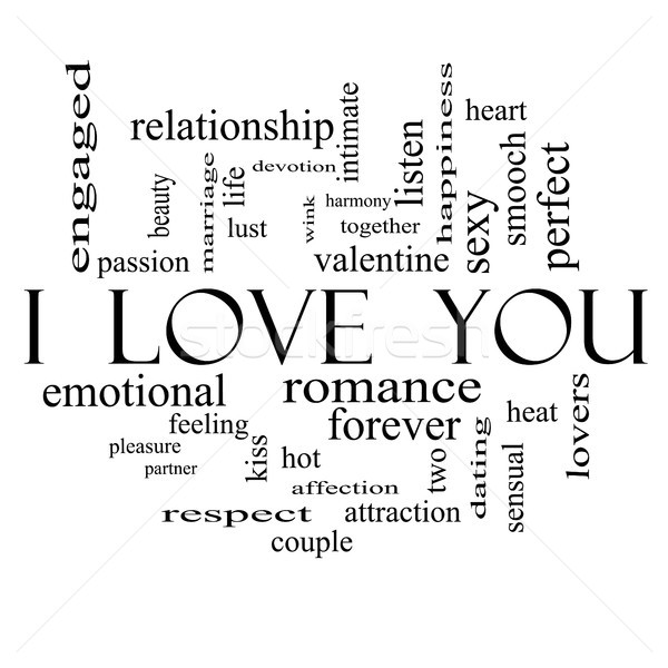 I Love You Word Cloud Concept on in Black and White Stock photo © mybaitshop
