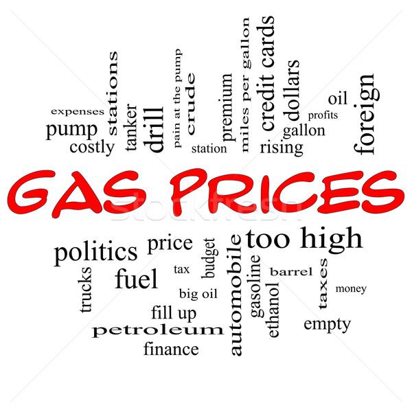 Foto stock: Alto · preços · nuvem · da · palavra · vermelho