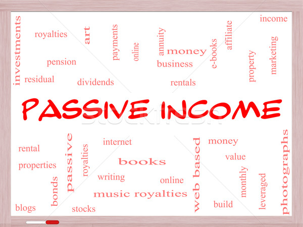 Passive Income Word Cloud Concept on a Whiteboard Stock photo © mybaitshop