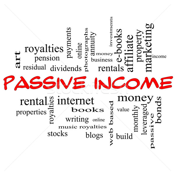 Passive Income Word Cloud Concept in red caps Stock photo © mybaitshop