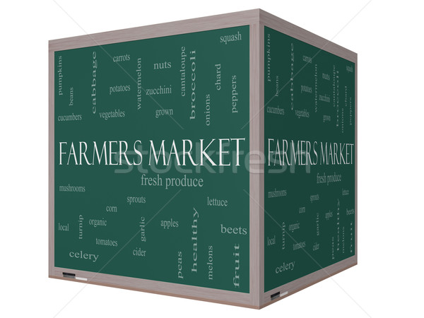 Farmers Market Word Cloud Concept on a 3D cube Blackboard Stock photo © mybaitshop
