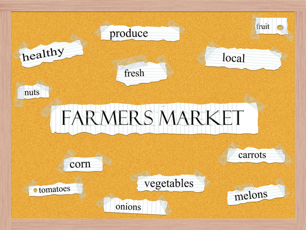 Stock photo: Farmers Market Corkboard Word Concept