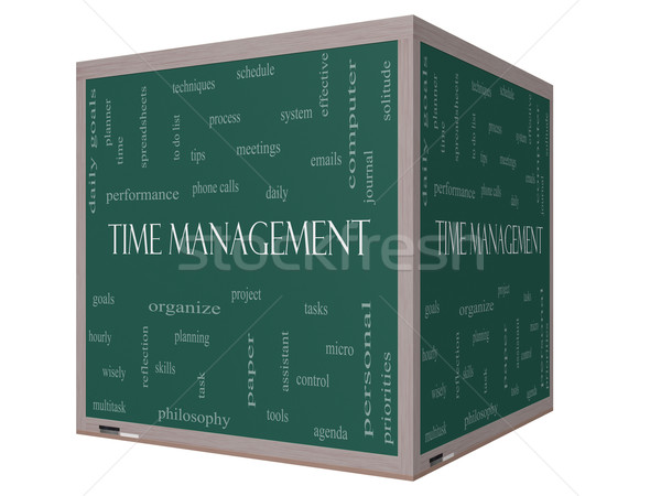 Stock photo: Time Management Word Cloud Concept on a 3D cube Blackboard