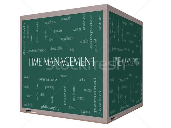 Időbeosztás szófelhő 3D kocka iskolatábla nagyszerű Stock fotó © mybaitshop