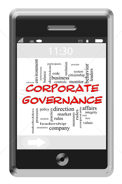 Corporate Governance Word Cloud Concept on Touchscreen Phone Stock photo © mybaitshop