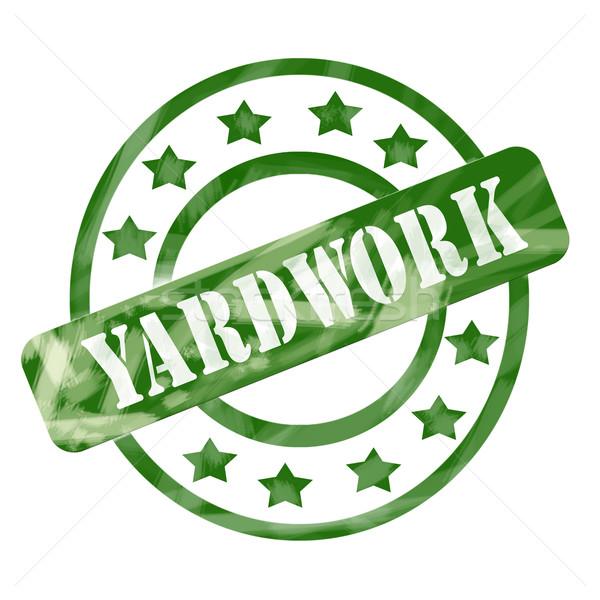 Green Weathered Yardwork Stamp Circles and Stars Stock photo © mybaitshop