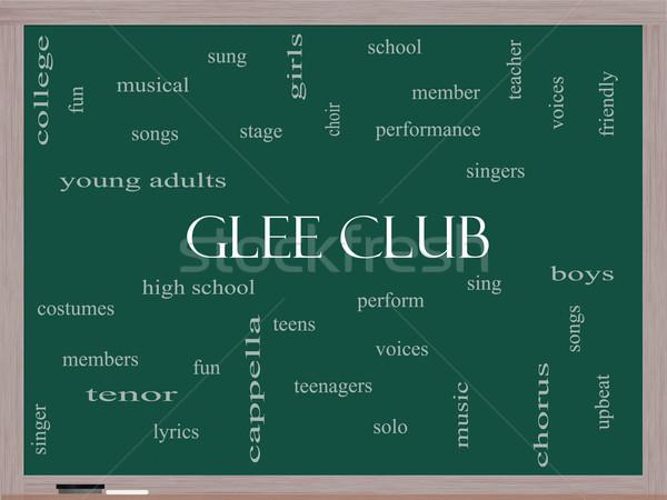 Glee Club Word Cloud Concept on a Blackboard Stock photo © mybaitshop