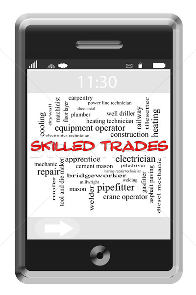 Skilled Trades Word Cloud Concept on Touchscreen Phone Stock photo © mybaitshop