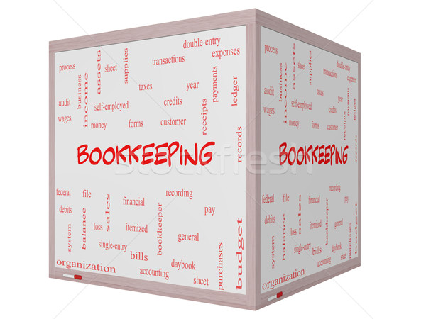 Bookkeeping Word Cloud Concept on a 3D cube Whiteboard Stock photo © mybaitshop