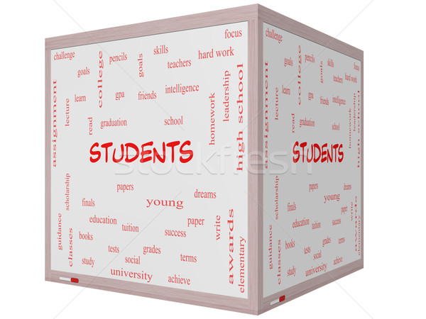 Students Word Cloud Concept on a 3D cube Whiteboard Stock photo © mybaitshop