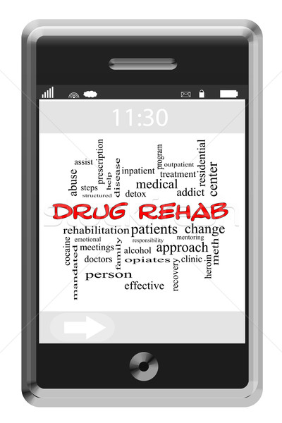 Drug Rehab Word Cloud Concept on Touchscreen Phone Stock photo © mybaitshop