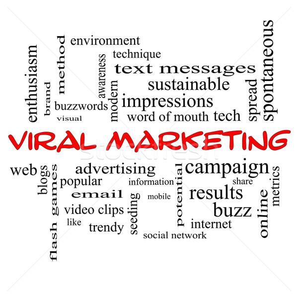 Viral marketing nuage de mots rouge magnifique buzz Photo stock © mybaitshop