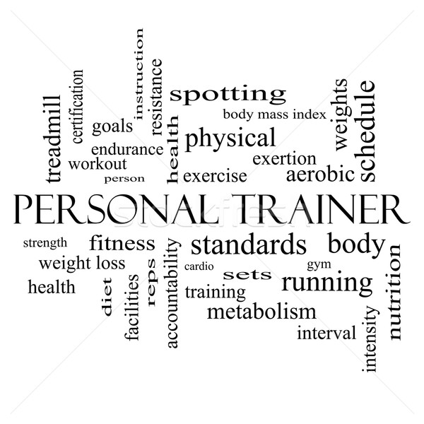 Personal Trainer Word Cloud Concept in black and white Stock photo © mybaitshop
