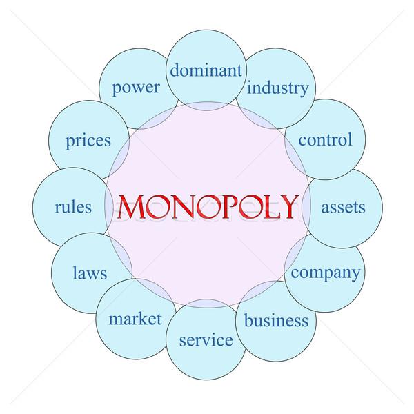 Monopolie woord diagram roze Blauw Stockfoto © mybaitshop