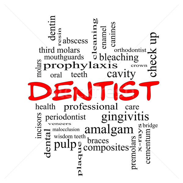 Dentist Word Cloud Concept in red caps Stock photo © mybaitshop