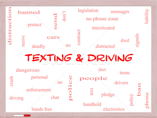 Texting and Driving Word Cloud Concept on a Whiteboard Stock photo © mybaitshop
