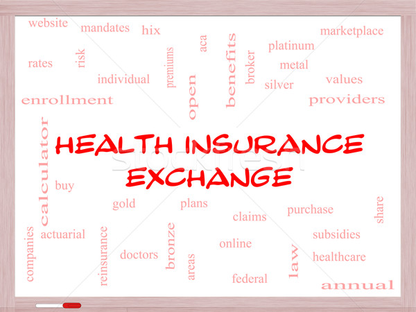 Egészségbiztosítás csere szófelhő tábla nagyszerű ezüst Stock fotó © mybaitshop