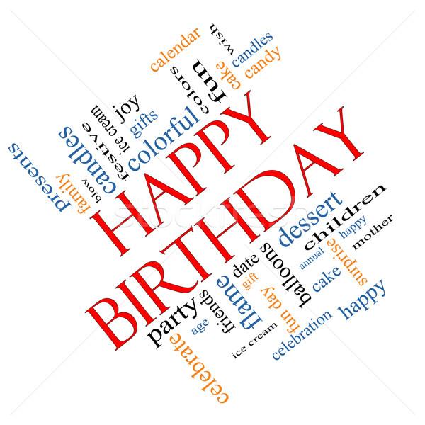 Stockfoto: Gelukkige · verjaardag · woordwolk · groot · presenteert · cake · ijs