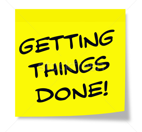 Getting Things Done written on a yellow sticky note Stock photo © mybaitshop