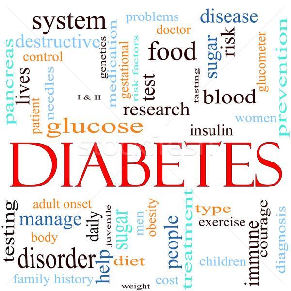 Diabète nuage de mots mot autour mots glucose Photo stock © mybaitshop