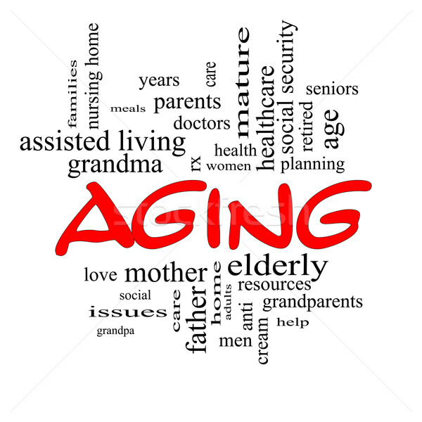 Aging Word Cloud Concept in Red Caps Stock photo © mybaitshop