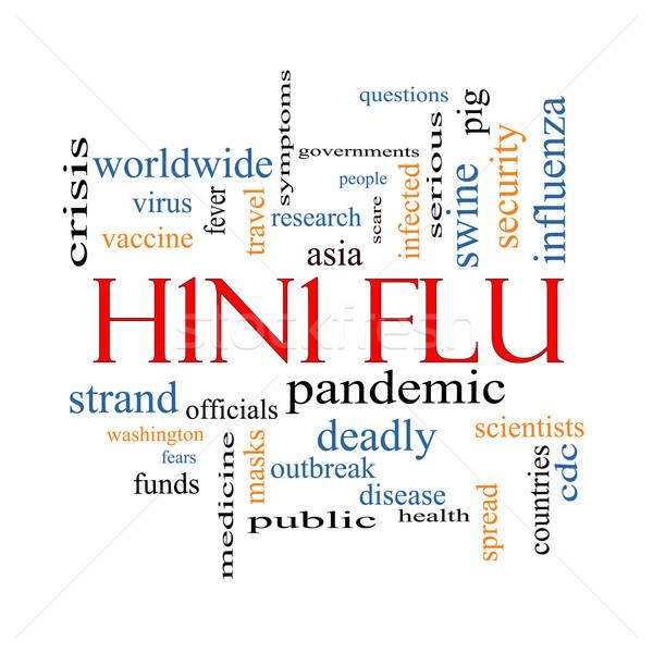 H1n1 influenza word cloud febbre Asia Foto d'archivio © mybaitshop