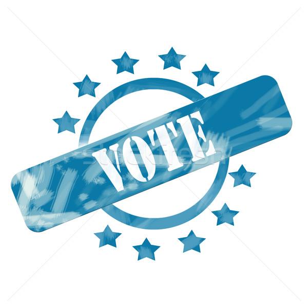 Blue Weathered Vote Stamp Circle and Stars design Stock photo © mybaitshop
