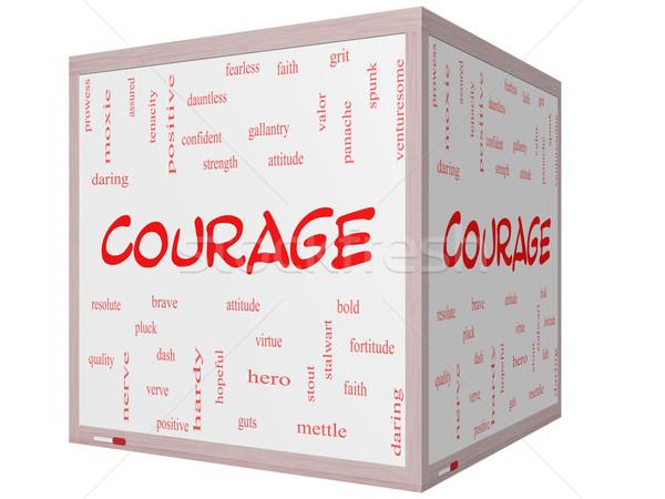 Bátorság szófelhő 3D kocka tábla nagyszerű Stock fotó © mybaitshop