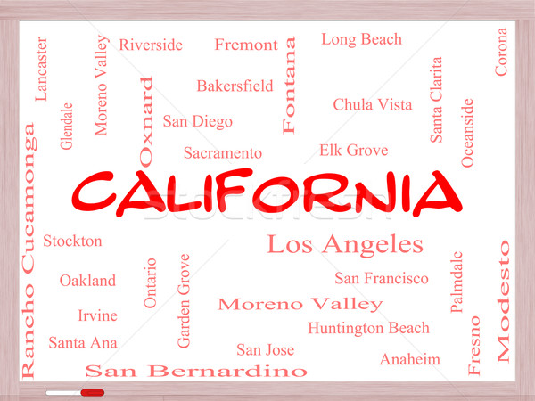 California State Word Cloud Concept on a Whiteboard Stock photo © mybaitshop
