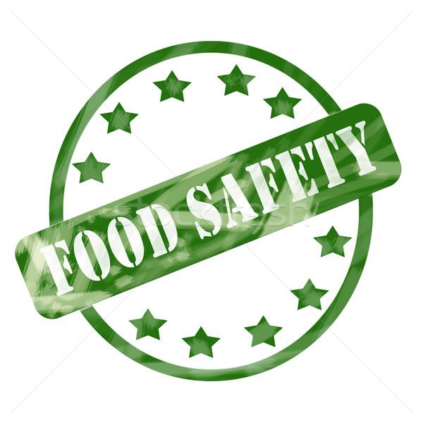 зеленый выветрившийся безопасности пищевых продуктов штампа круга звезды Сток-фото © mybaitshop