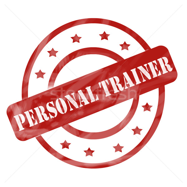 Red Weathered Personal Trainer Stamp Circles and Stars Stock photo © mybaitshop