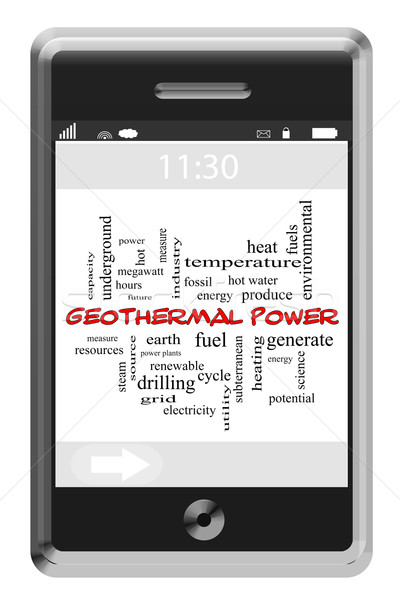 Geothermal Power Word Cloud Concept on Touchscreen Phone Stock photo © mybaitshop