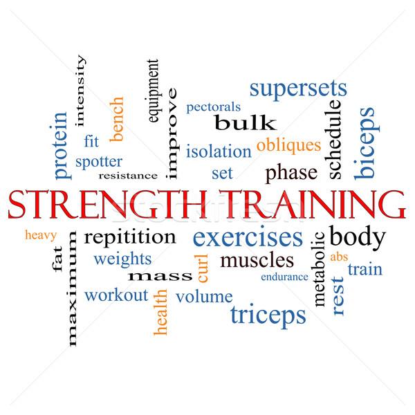 Trening siłowy chmura słowo ciało mięśni wagi Zdjęcia stock © mybaitshop