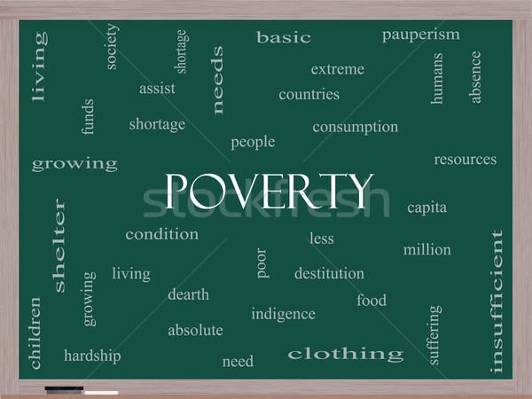 Szegénység szófelhő iskolatábla nagyszerű szegény állapot Stock fotó © mybaitshop