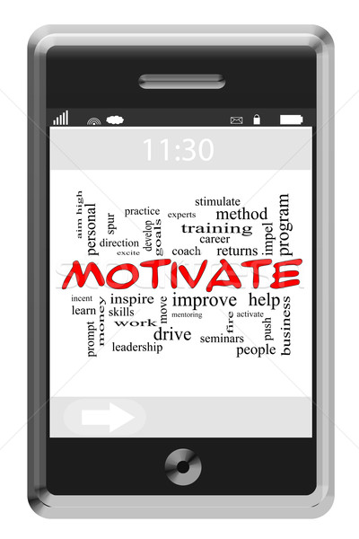 Motivate Word Cloud Concept on Touchscreen Phone Stock photo © mybaitshop