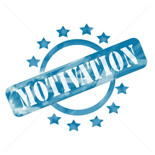 Niebieski wyblakły motywacja pieczęć kółko gwiazdki Zdjęcia stock © mybaitshop